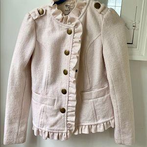 Pale pink wool blend military jacket